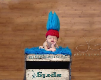 Thing One, Thing Two-Troll Doll-Baby Hat Knitting PATTERN-For Baby Photography Prop- Uses Handspun Yarn, in 2 Sizes