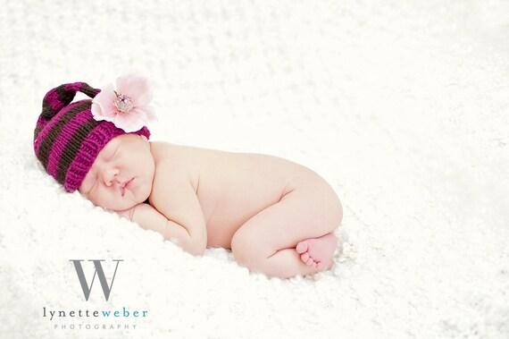 Newborn Striped Hat Knitting PATTERN-Pdf, New Baby Gift, Photo Prop, Newborn Props, 3 Sizes