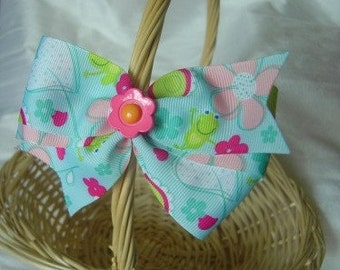 Daisies & Frogs Hair Bow