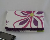 Folded Clutch/wristlet - floral print - with trendy ruffle detail