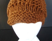 Chunky Knit Hat with Brim - Chocolate Brown