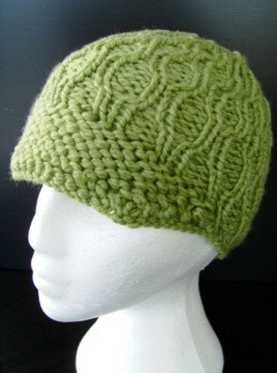 Chunky Green Cable Knit Hat With Brim