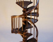 1/12th scale, 8 inch walnut spiral staircase, WITHOUT handrail and balusters