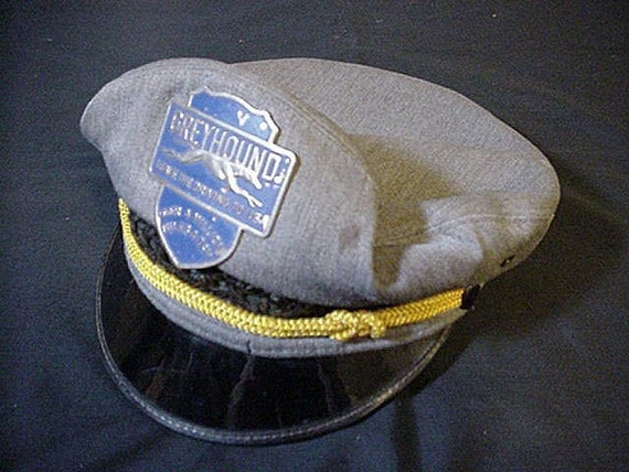 1940s Greyhound Bus Drivers Cap Metal Emblem Wicker Hat