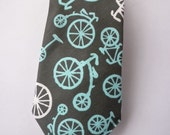 Men's Charcoal and Turquoise Bicycle Tie - Traditional or skinny