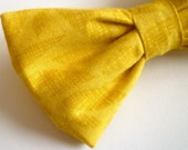 Yellow Leaves Bow tie - clip on, pre-tied with strap or self tying - ring bearer outfit or wedding attire