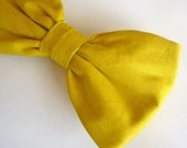 Bow tie in Solid Mustard Yellow - clip on, pre-tied adjustable strap, or self tying