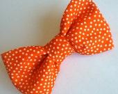 Boy's Orange Pin Dots Bow Tie - clip on