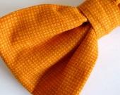Boy's Orange Hatch Bow Tie - clip on