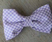 Purple Gingham Bow Tie - clip on, pre-tied with strap or self tying - ring bearer or groomsmen tie