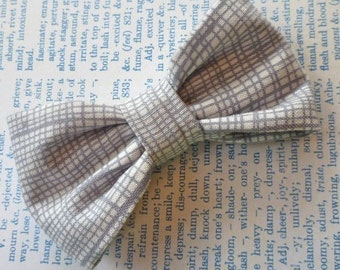 Steel Gray Plaid Bow Tie - clip on, pre-tied with strap, self tying - ring bearer outfit, groomsmen ties, gift
