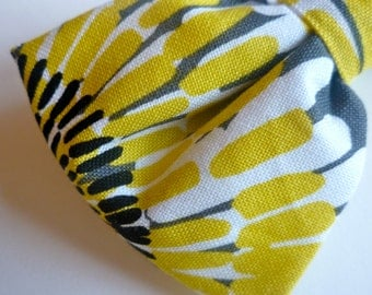 Yellow and Grey Sunflower Bow tie - clip on
