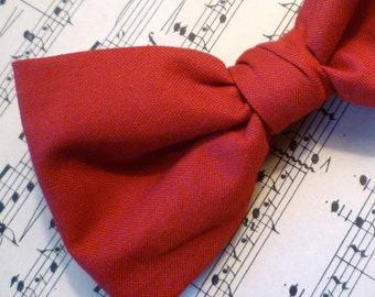 Solid Red Bowtie - clip on, pre-tied adjustable strap or self tying - Christmas, holiday, wedding ties