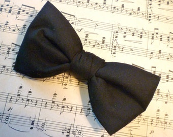 Black Bow Tie - Man's Clip On, pre- tied adjustable strap, self tying