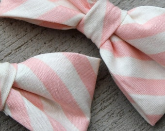 Pink and Cream Stripe Bow Tie for Men or Boys - clip on, pre-tied with strap or self tying - ring bearer outfit or groomsmen gift