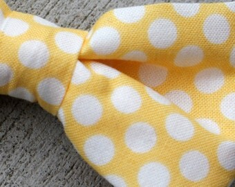 Yellow Promenade Polka Dot Bow tie - clip on, pre-tied with strap or self tying for men or boys - wedding ties, ring bearer outfit
