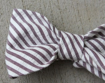 Dark Purple Seersucker Bow Tie for men and boys - clip on, pre-tied with adjustable strap or self tying