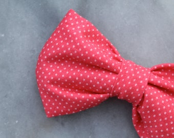 Bow tie in Strawberry Pink Pin dots - Clip on, pre-tied with strap or self tying