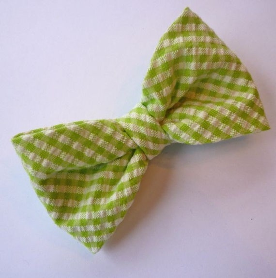 Green Seersucker Bow Tie - boy's clip on