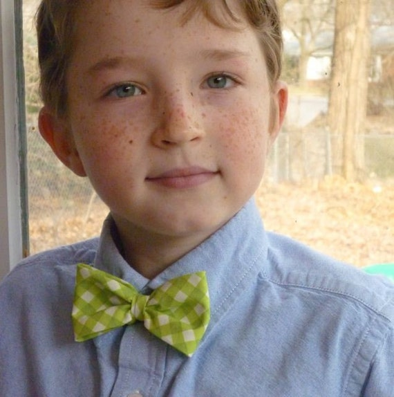 Lime Green Plaid Boy's Bow Tie - clip on