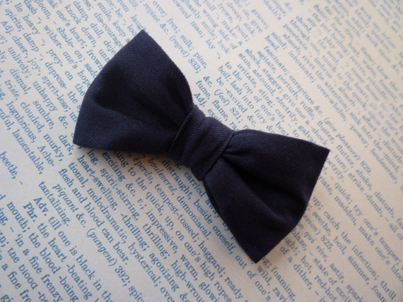 Solid Navy Blue Bow Tie - for men and boys - clip on, pre-tied with an adjustable strap or self tying - ringbearer attire or groomsmen gift
