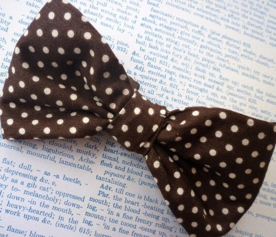 Chocolate Brown Polka Dot Bow tie - clip on, pre-tied with strap or self tying