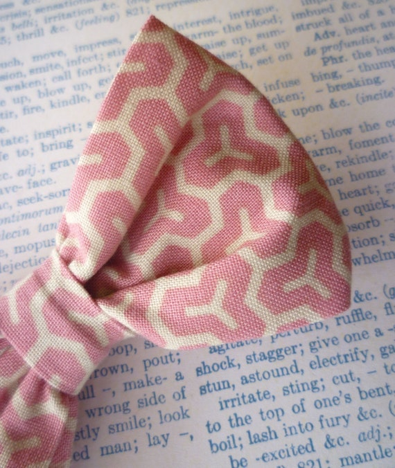 Pink Honeycomb Bow Tie - clip on, pre-tied with an adjustable strap or self tying