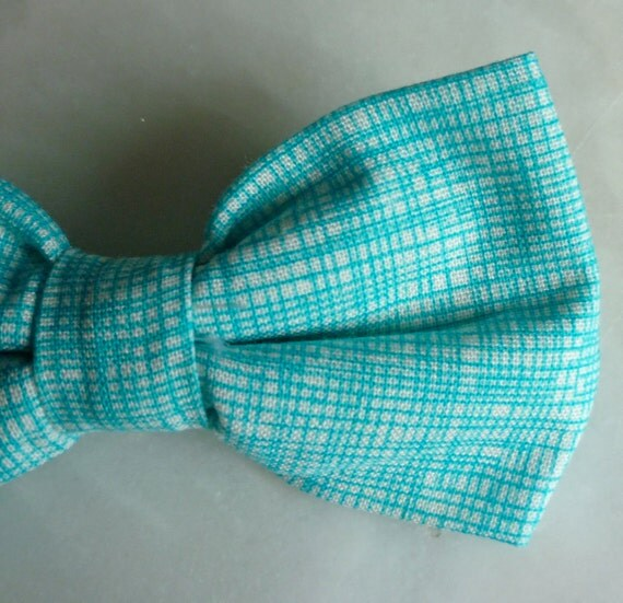 Ocean Blue Hatch Bow Tie for men or boys - clip on, adjustable strap or self tying