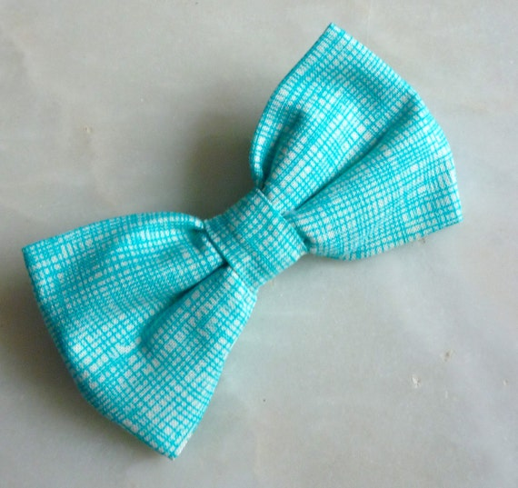Ocean Blue Hatch Bow Tie - clip on, pre-tied with strap or self tying - groomsmen or ring bearer attire
