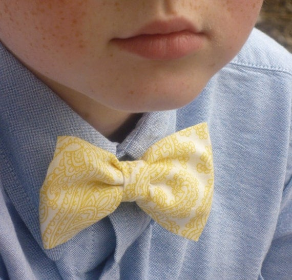 Yellow Posh Paisley Bow tie - clip on - ring bearer attire