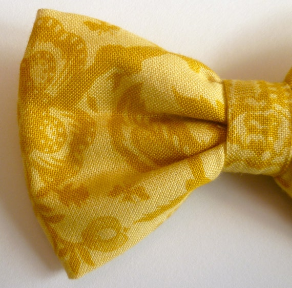French Lace in Gold Bow Tie - clip on, pre-tied with strap or self tying