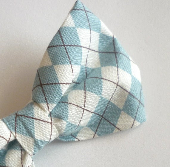 Teal Argyle Plaid Bow tie - clip on, pre-tied with adjustable strap, self tying