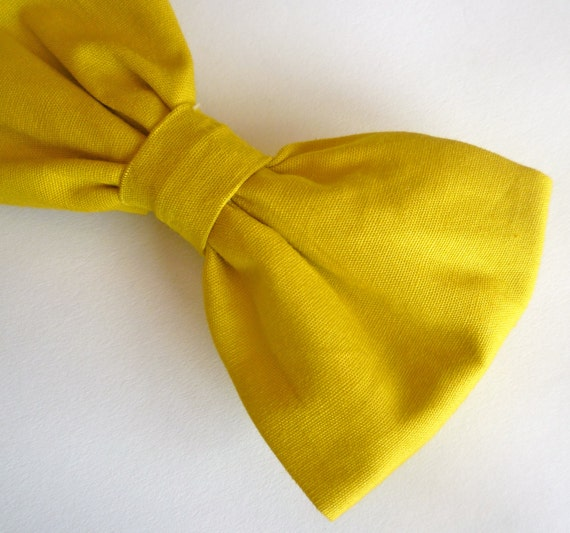 Bow tie in Solid Mustard Yellow - clip on, pre-tied with adjustable strap or self tying