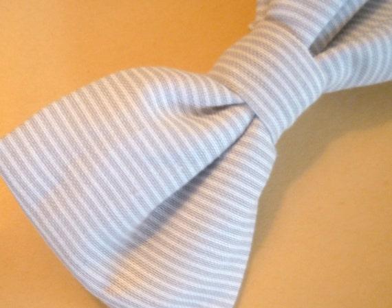 Boy's Grey Striped Bow tie - clip on