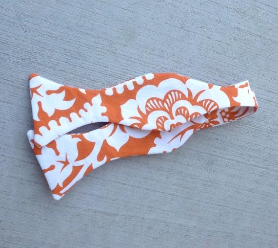 Bow Tie in Orange Block Print - clip on, pre-tied adjustable strap or self tying