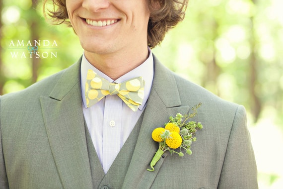 Bow Tie in Martini Mustard - self tying, pre-tied with strap or clip on for men or boys