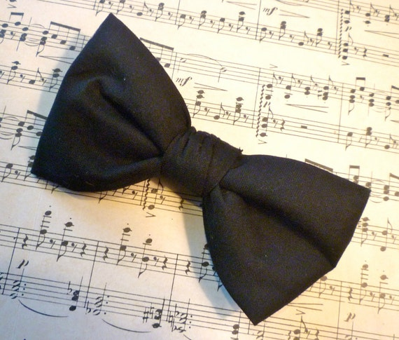 Black Bowtie - clip on, pre-tied strap or self tying (freestyle) for men or boys - wedding attire, ring bearer outfit, tuxedo formal wear