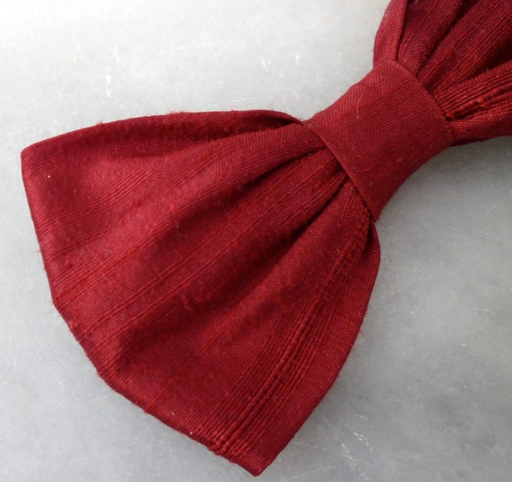 Rich Red Dupioni Silk Bow Tie - Clip on, pre-tied with strap or self tying