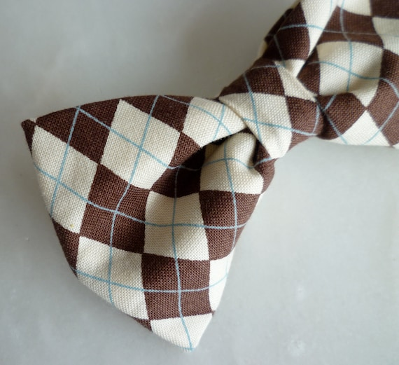 Chocolate Brown Argyle Plaid Clip on Bow Tie for men or boys - clip on, pre-tied with adjustable strap or self tying