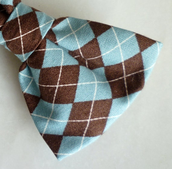Teal and Chocolate Brown Argyle Plaid Bow tie - clip on