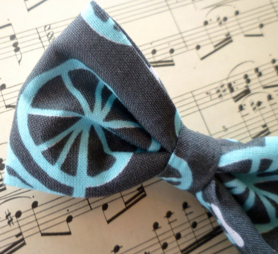 Bow tie in  Charcoal and Turquoise Bicycle for Men or Boys, clip on, pre-tied with adjustable strap or self tying for, ring bearer outfit