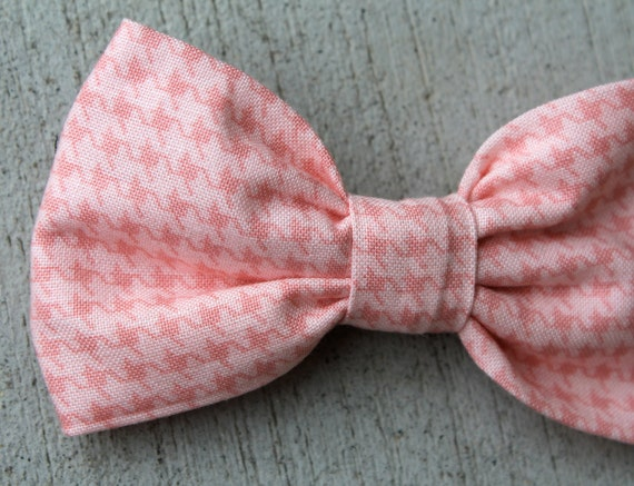 Men's Soft Coral Pink Houndstooth Bow Tie - clip on, pre-tied strap, or self tying