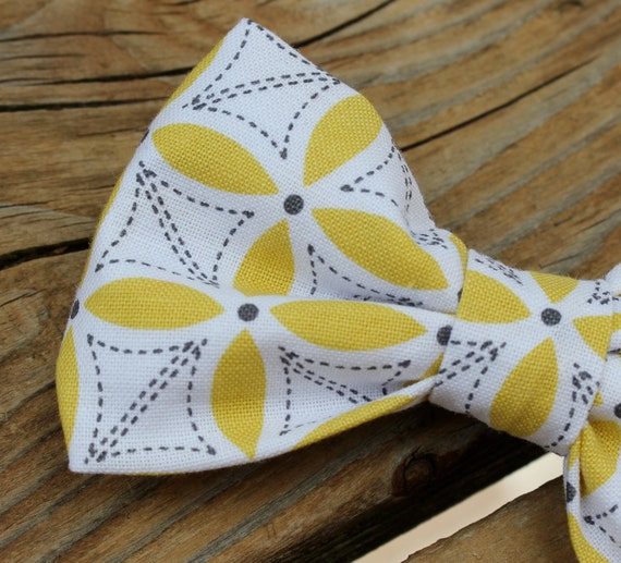Yellow and Gray Petal Stitch Bow Tie for Men - Clip on, pre-tied adjustable strap, self tying