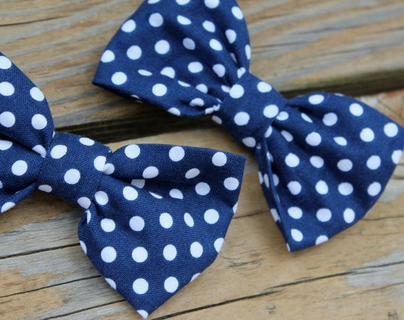 Navy Blue and White Polka Dot Bow tie - clip on, pre-tied with strap or self tying