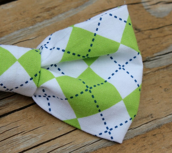 Men's Lime Green Argyle Plaid Bow tie - clip on, pre-tied adjustable strap or self tying