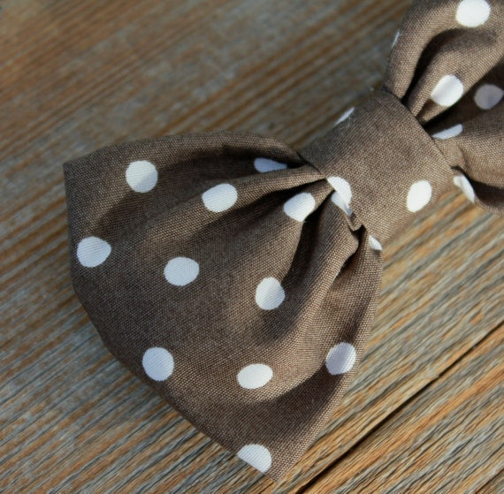 Bow tie in Organic Brown Polka Dot- clip on, pre-tied with strap, or self tying - for men or boys - wedding ties, ring bearer outfit