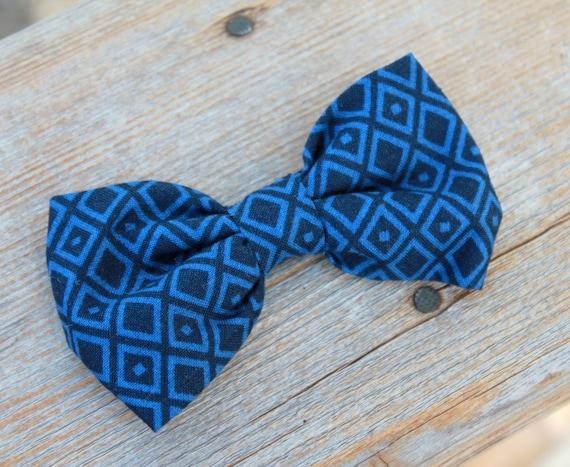 Navy Blue Diamonds Bow Tie for boys - clip on