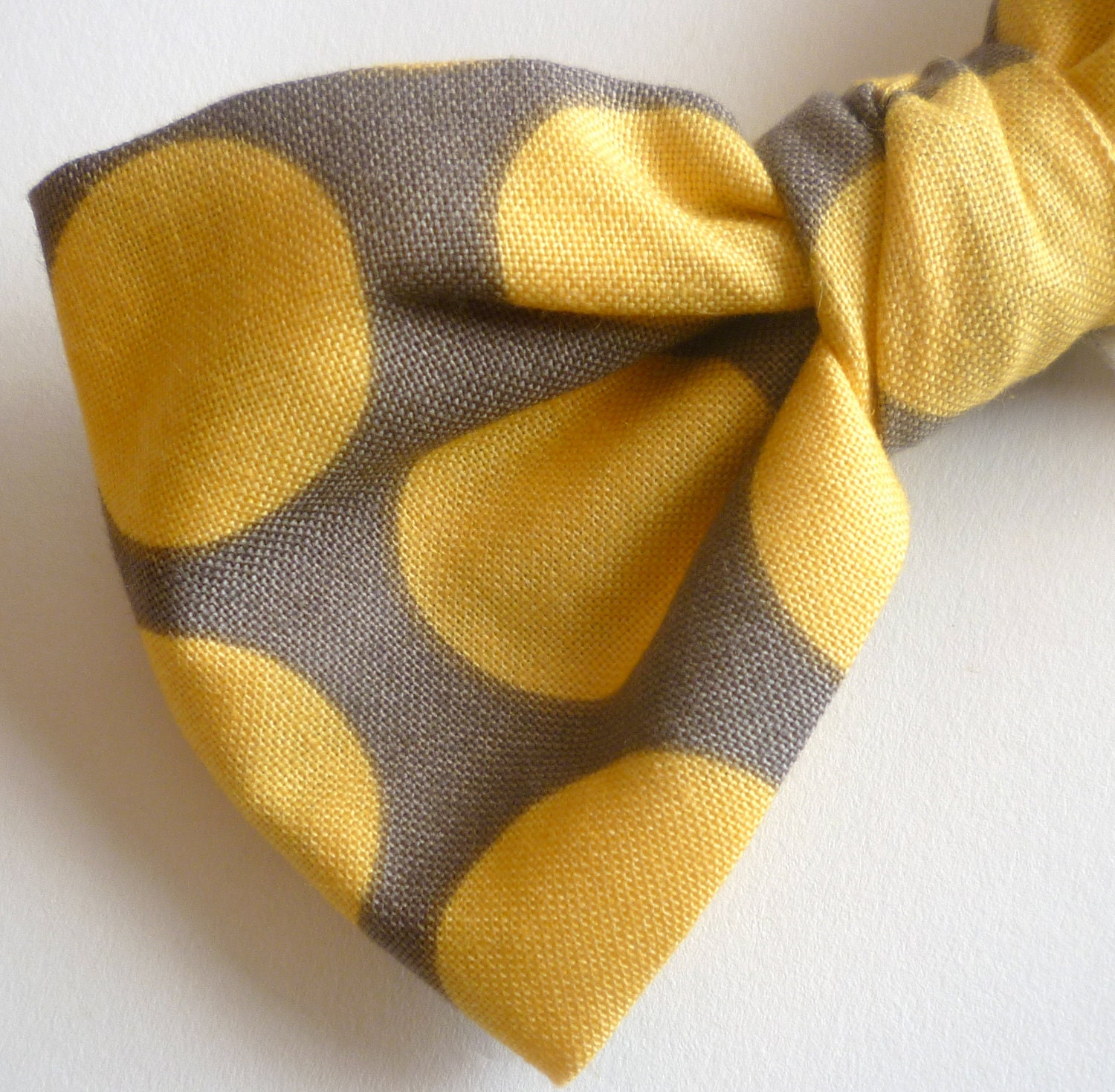 Men's Yellow And Gray Retro Dot Bow Tie Clip On