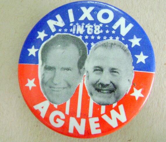 Rare Nixon Pins: Vintage Political Campaign Button Nixon Agnew