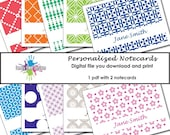 Personalized Printable Note Cards - You choose the design and colors